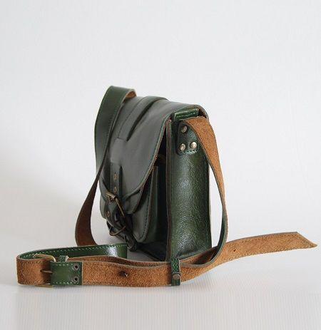 BUFALO U05 GREEN зелёная кожаная сумка