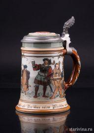 Пивная кружка, 1/2 л, Mettlach, Германия, 1896