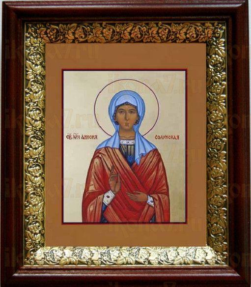 Анисия Солунская (19х22), темный киот