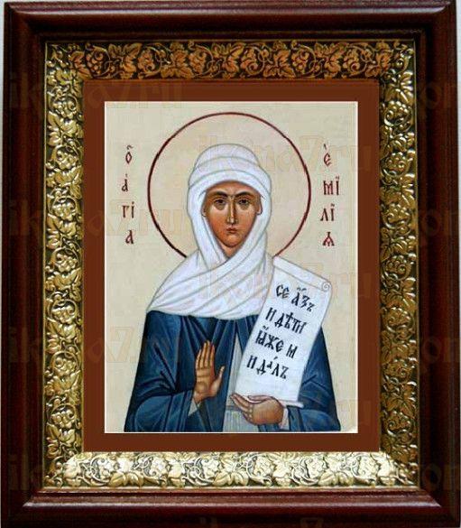 Емилия Кесарийская (19х22), темный киот
