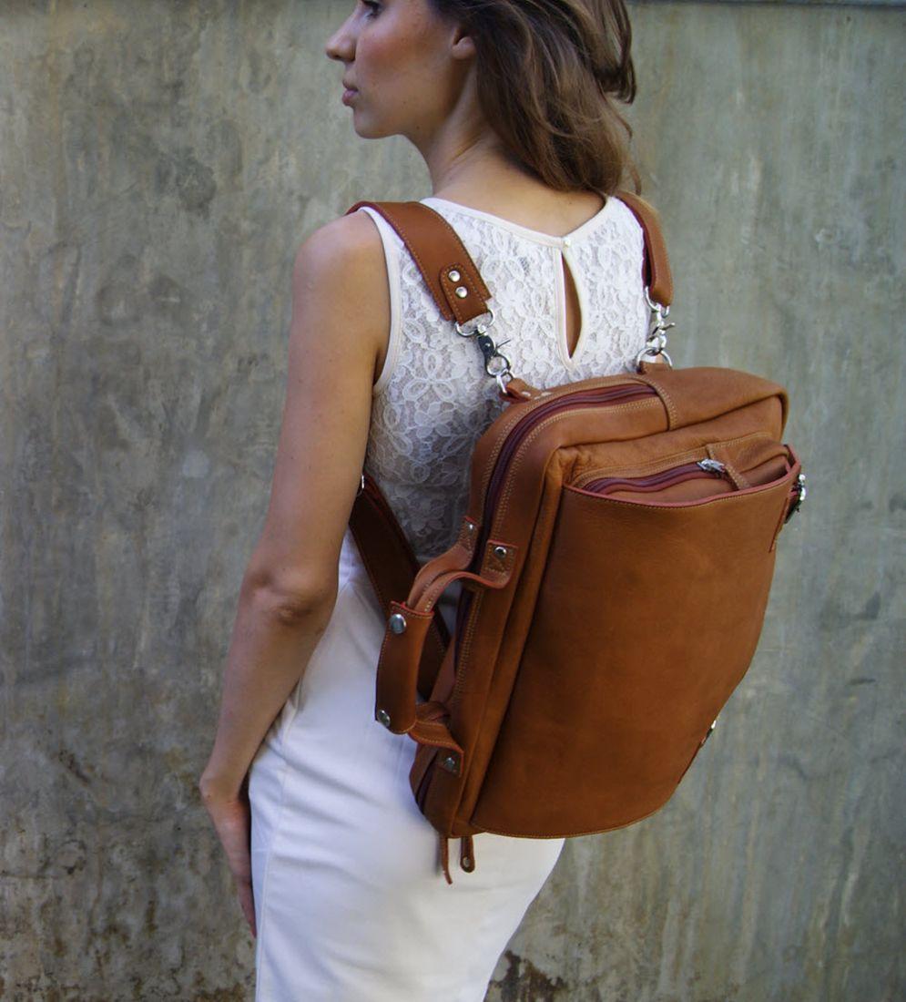 BUFALO TRP-03 CAMEL кожаный рюкзак-портфель-трансформер