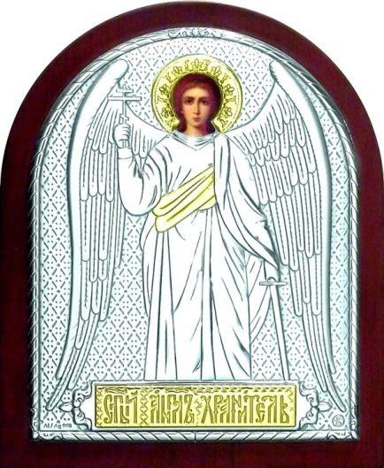 Серебряная с золочением икона Ангела Хранителя (листовое дерево, 12*16см., Россия)