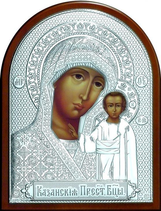 Серебряная икона Богородицы «Казанской» (листовое серебро, 19*25см., Россия)