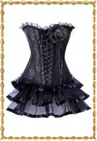 Черная многоуровневая юбка с корсетом
