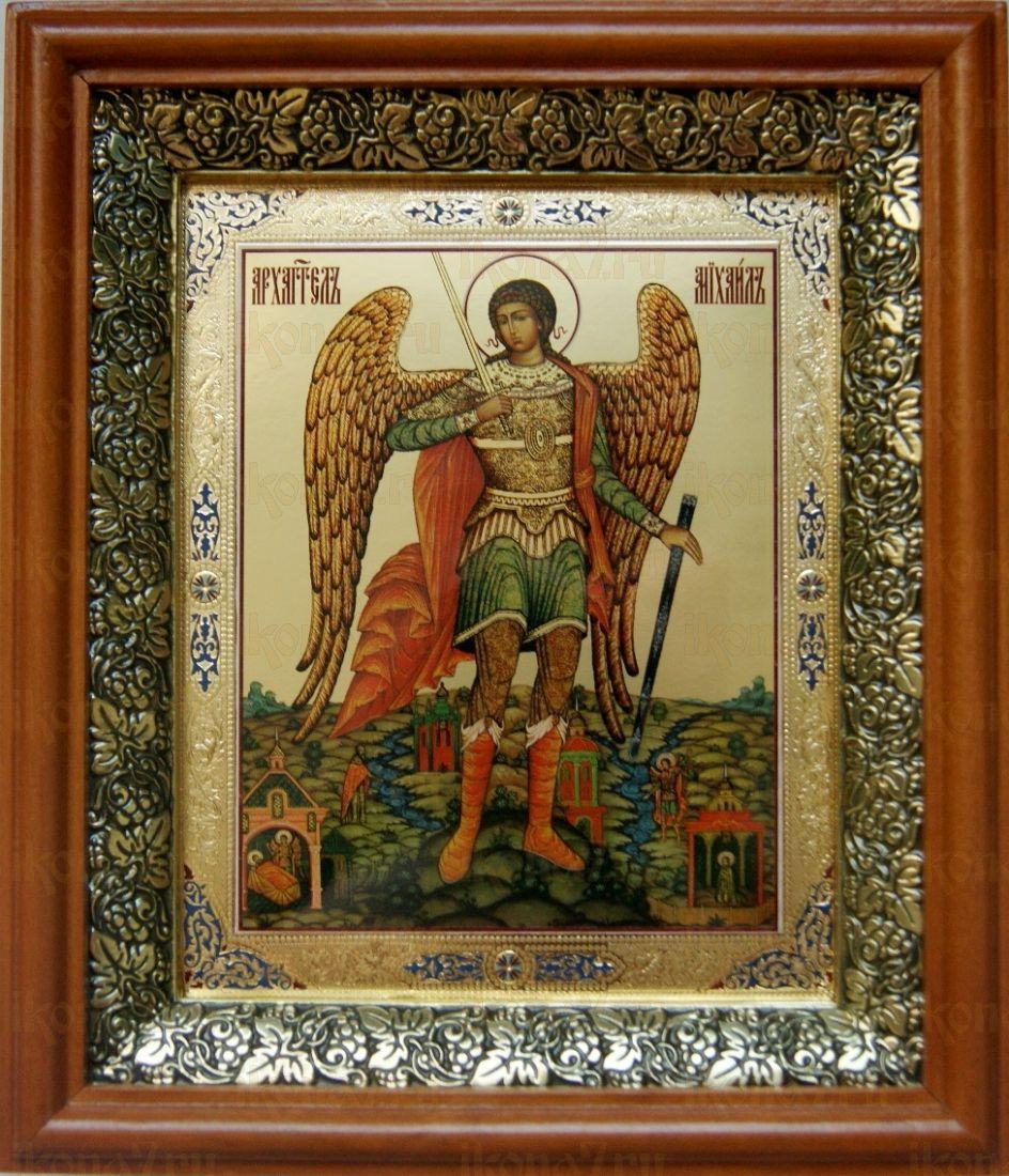 Михаил Архангел (19х22), светлый киот