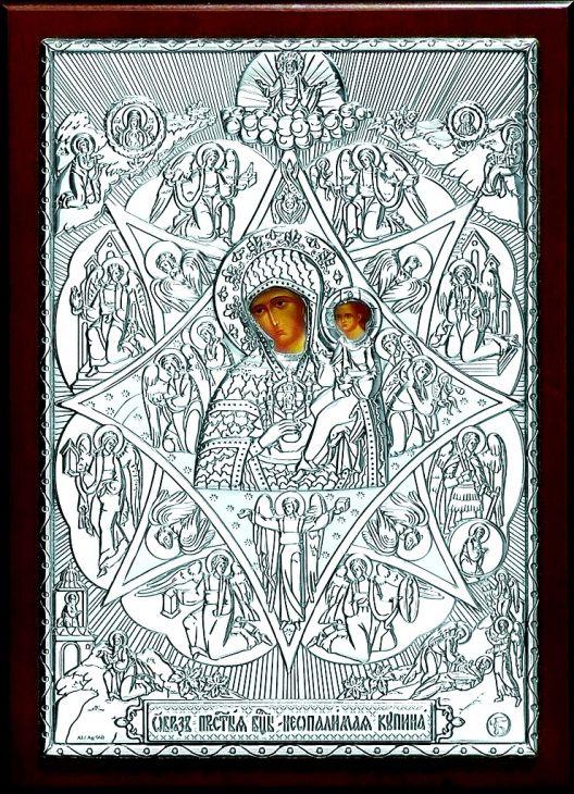 Серебряная кона Богородицы «Неопалимая Купина» (листовое серебро, 15*21см., Россия)