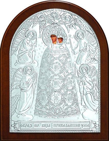 Серебряная икона Богородицы Прибавление ума (листовое серебро, 12*16см., Россия)