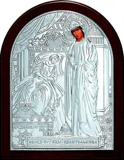 Серебряная икона Богородицы «Целительницы» (9*11см., Россия)
