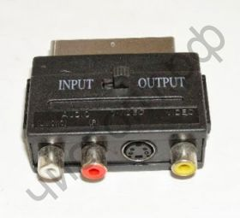 Переходник Скарт на 3 тюльп.+SVHS  (переключ.вход-выход) OT-AVW42