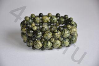 Браслет плетеный из натурального камня- Змеевик