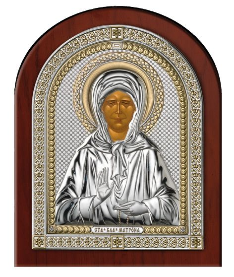 Серебряная икона Святая Матрона в рамке (Италия)