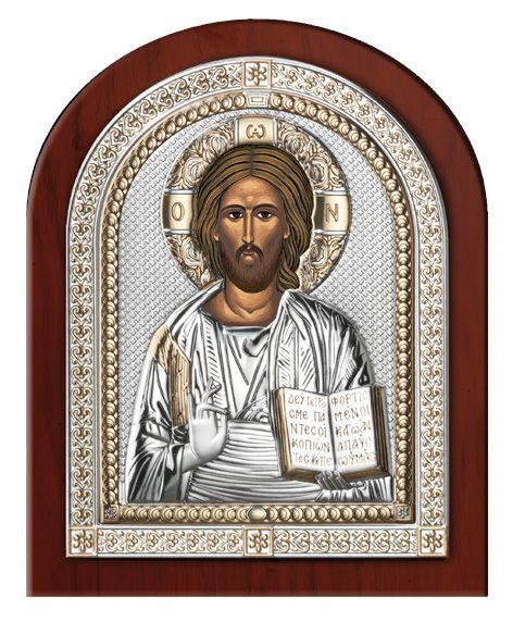 Серебряная икона Иисуса Христа Спасителя (эксклюзивная рамка, Италия)