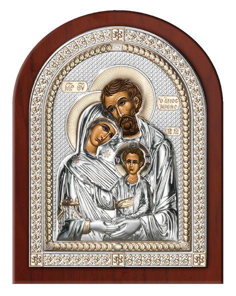 Серебряная икона Святое Семейство в рамке (Италия)