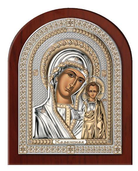 Серебряная икона Богоматери Казанской (Италия, эксклюзивная рамка)
