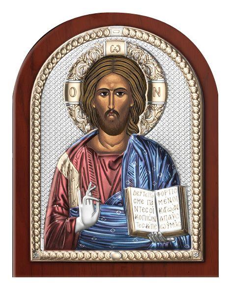 Серебряная икона Иисуса Христа Спасителя (Италия)
