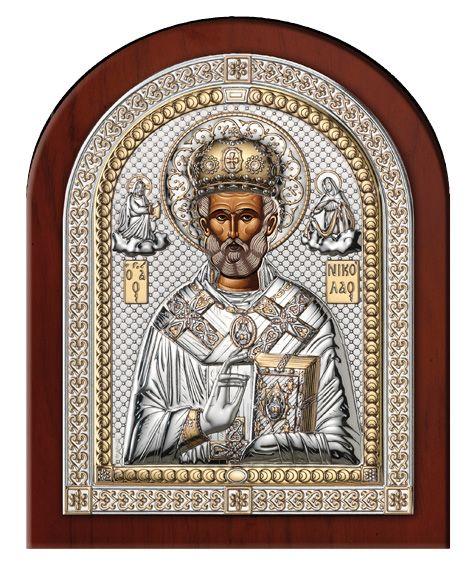 Серебряная икона Святой Николай (Италия, эксклюзивная рамка)