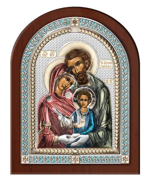 Серебряная икона Святое Семейство (Италия, эксклюзивная рамка)