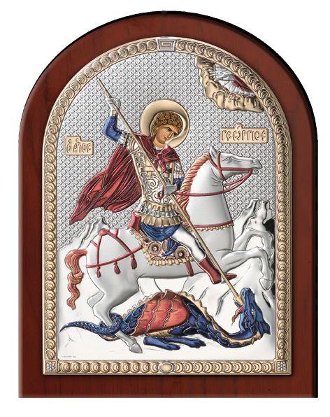 Серебряная икона Святой Георгий (Италия)