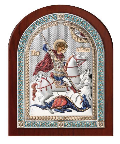 Серебряная икона Святой Георгий Победоносец (Италия, эксклюзивная рамка)