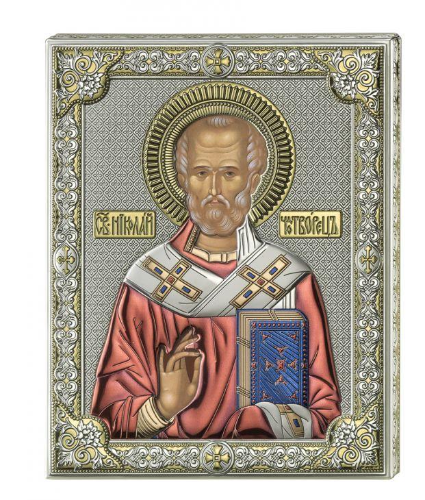 Серебряная икона Святой Николай (листовое серебро, цветной лак, Италия)