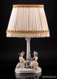 Дети с овечкой и птичьей клеткой, настольная лампа, Potschappel, Германия, нач. 20 в
