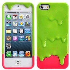 чехол melt ice cream для iphone 5/5s (розово-зеленый)
