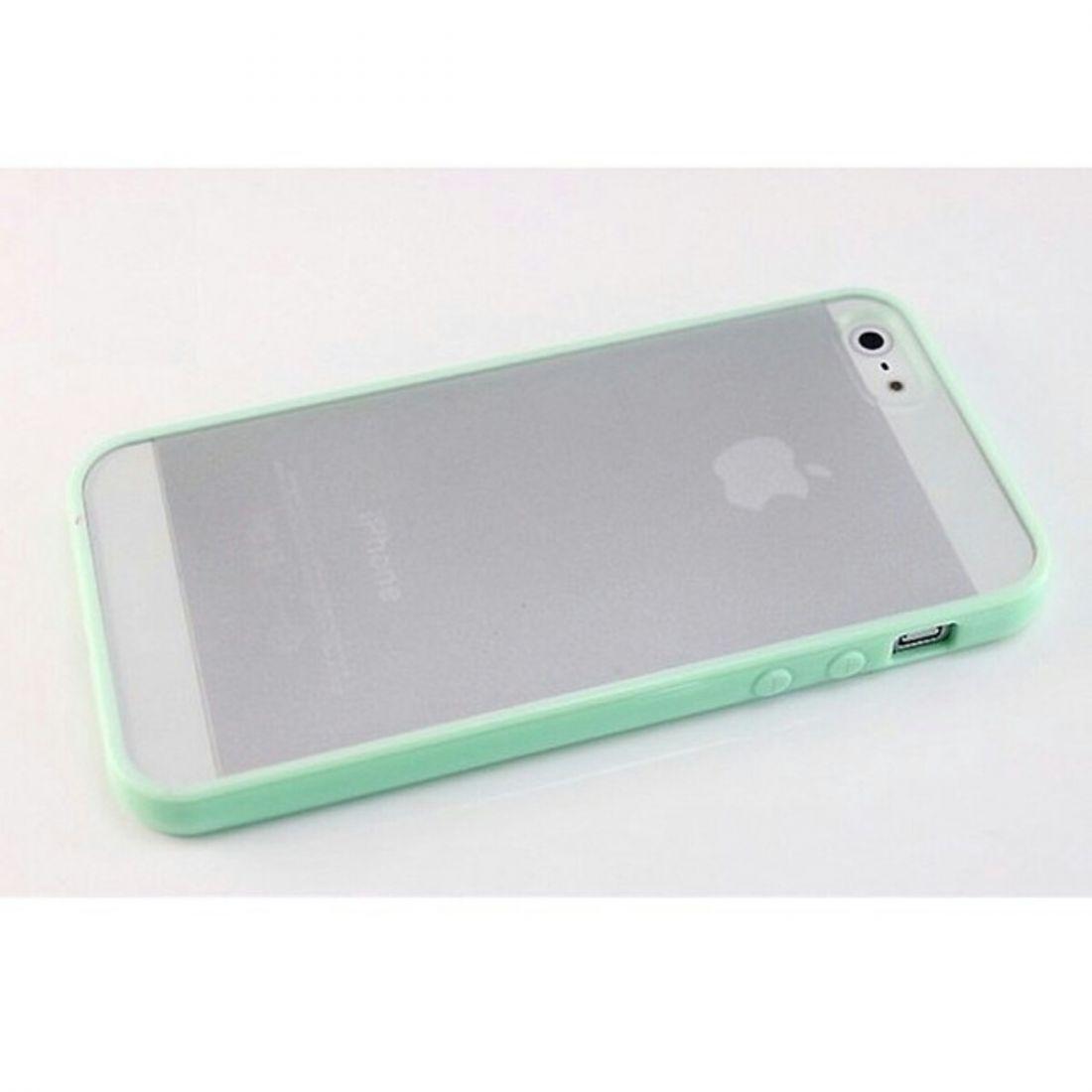 Чехлы для iphone 5/5s - бампера с прозрачной крышкой (зеленый)