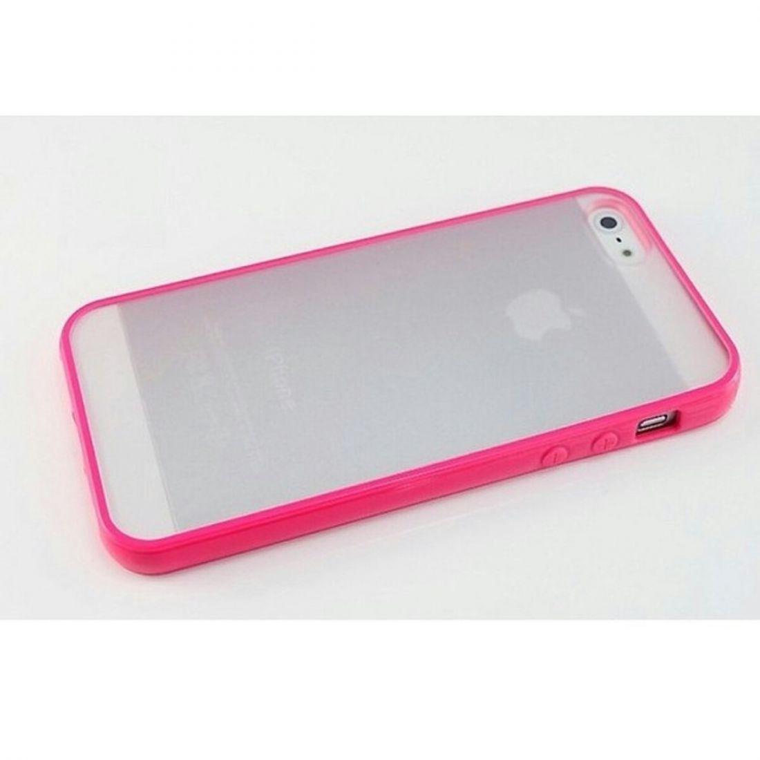 Чехлы для iphone 5/5s - бампера с прозрачной крышкой (розовый)
