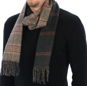 Роскошный двусторонний кашемировый шарф (100% драгоценный кашемир), ВИНДЗОРСКАЯ КЛЕТКА /ОКОННАЯ КЛЕТКА ,Цвет коралловый -угольный,  GLEN CHECK  WINDOWPANE Rust,   высокая плотность 7
