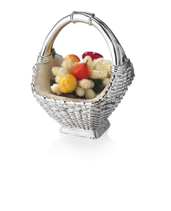 Серебряная вазочка-корзинка с фруктами (Италия)