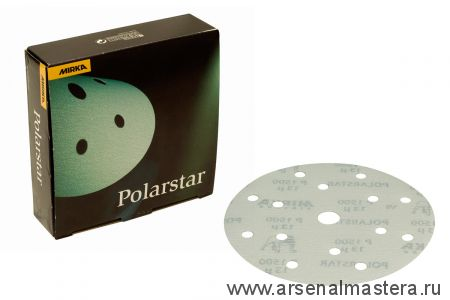 Шлифовальный круг на пленочной  основе липучка Mirka POLARSTAR  150мм 15 отв P1500 в комплекте 50 шт.
