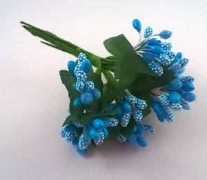 Тычинки в связках перламутровые, цвет- голубой, 1 уп = 6 связок (1 связка = 11-12 букетиков)