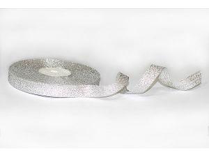 Лента металлизированная. Цвет серебро 12 мм (Рулон 32 м)