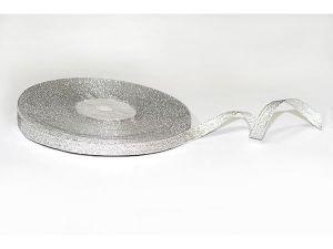 Лента металлизированная. Цвет серебро 6 мм (Рулон 32 м)