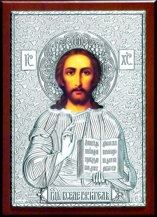 Серебряная икона Иисуса Христа Спасителя (листовое серебро, 15*21см., Россия)