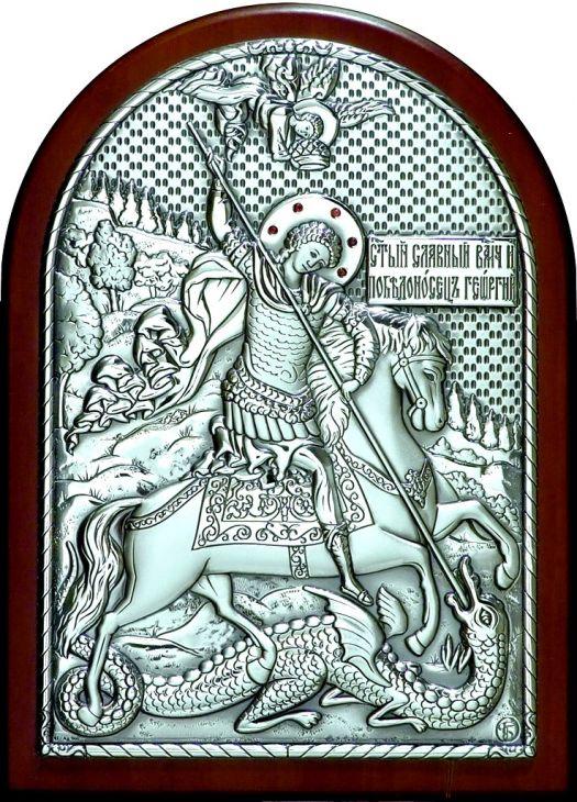 Инкрустированная гранатами серебряная икона Святого Георгия Победоносца (14.5*20 см, Россия) в подарочной коробке