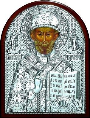 Серебряная икона святителя Николая Чудотворца (Угодника) (9*11см., Россия)