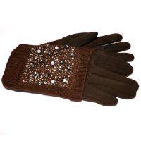 Женские двойные перчатки КАМНИ коричневого цвета
