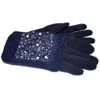 Двойные женские перчатки КАМНИ синего цвета