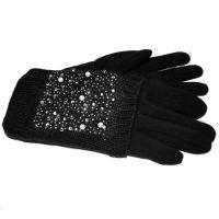 Женские двойные перчатки черного цвета КАМНИ