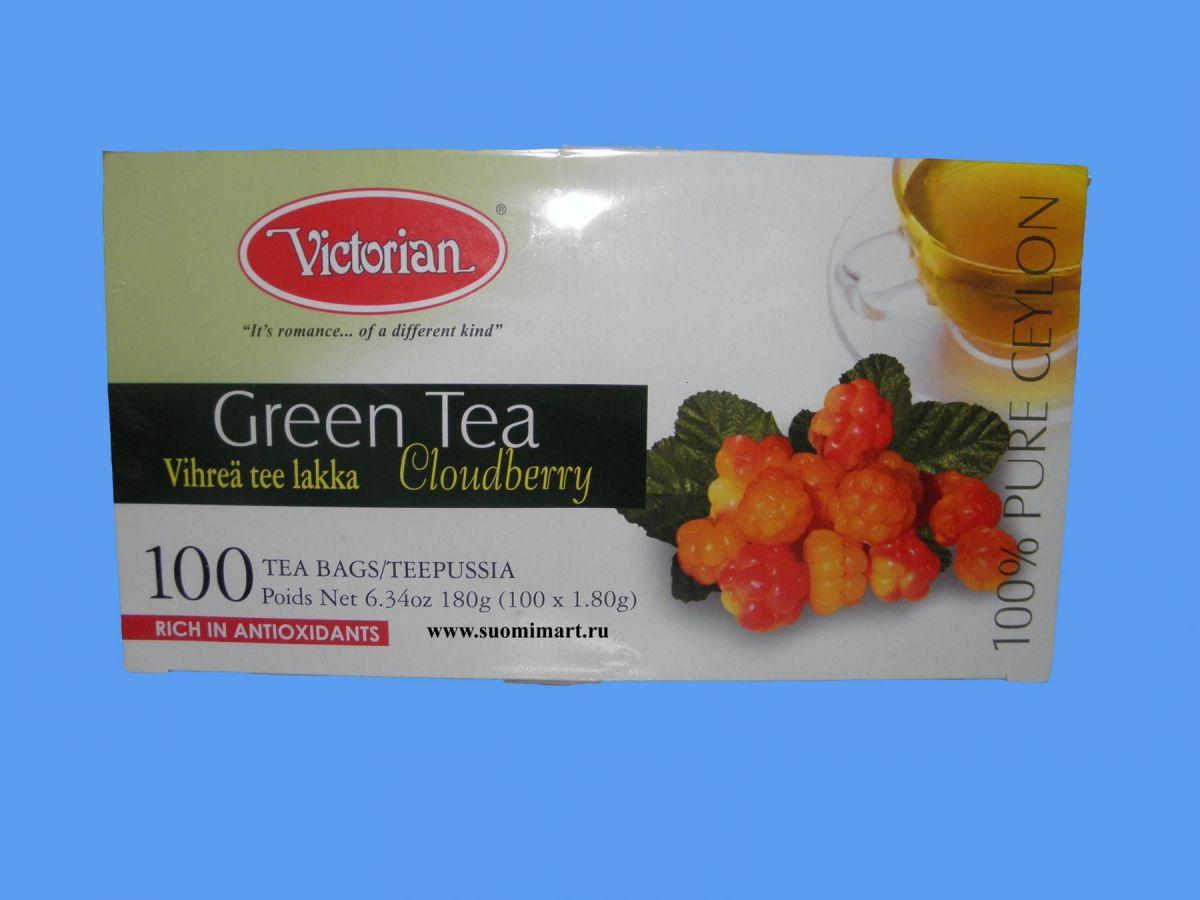 Чай Victorian Green Tea Cloudberry (зеленый с морошкой) 100 пакетов