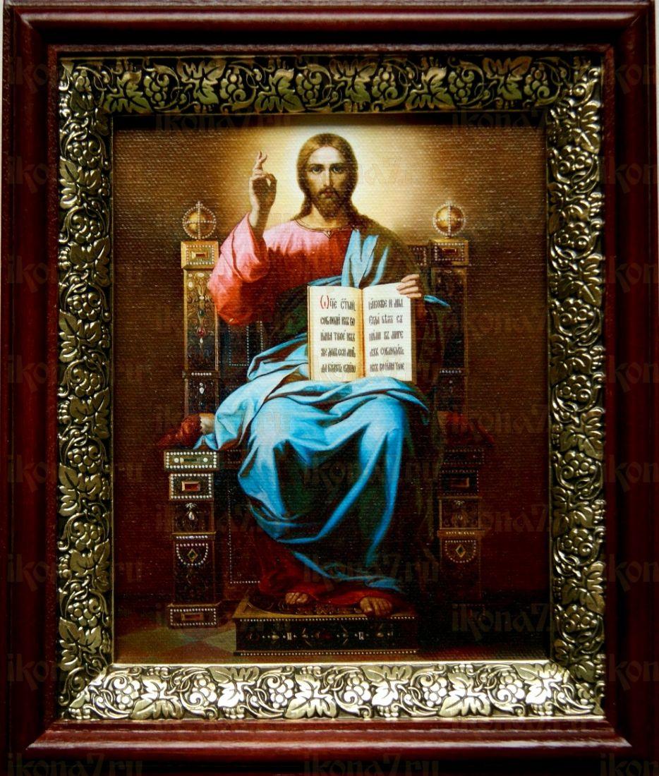 Спас на престоле (19х22), темный киот
