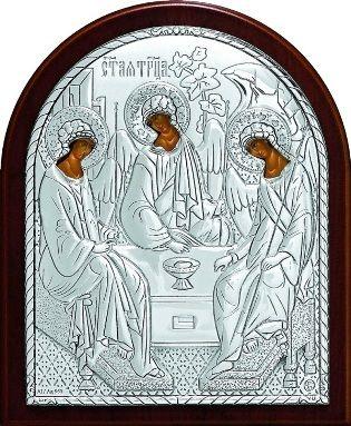 Серебряная икона Святой Троицы (9*11см., Россия)