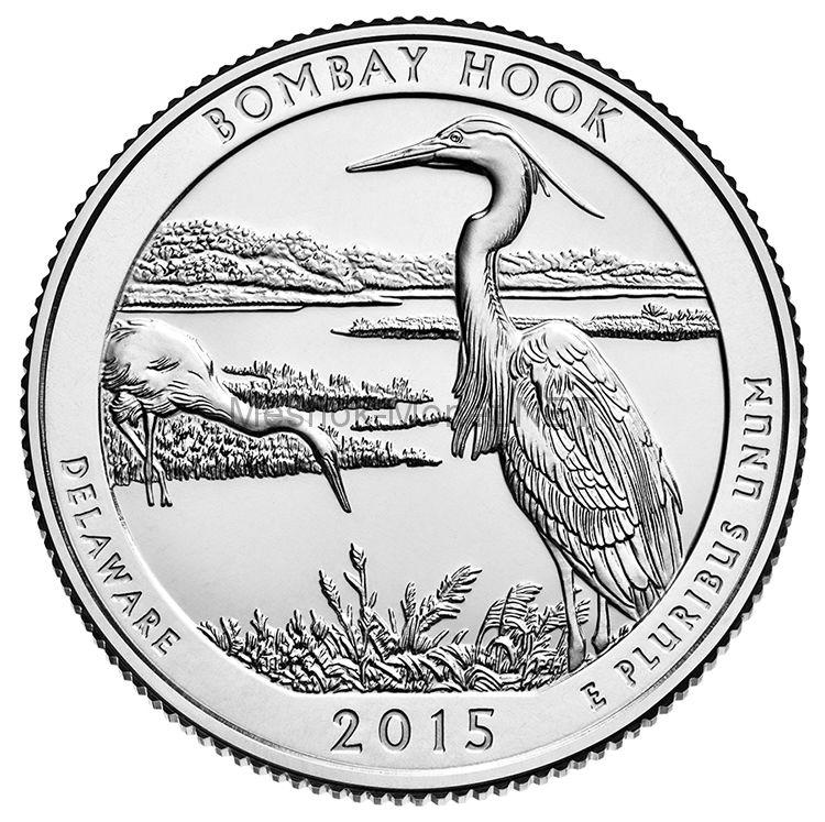 25 центов США 2015 Бомбей Хук (Bombay Hook)