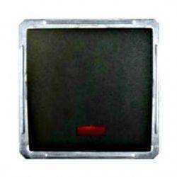 Переключатель 1-о клавишный с индикатором (250В, 16А, чёрный бархат)
