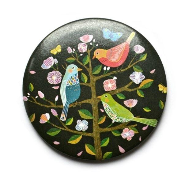 "Карманное зеркало ""Paradise Birds"" - Black"