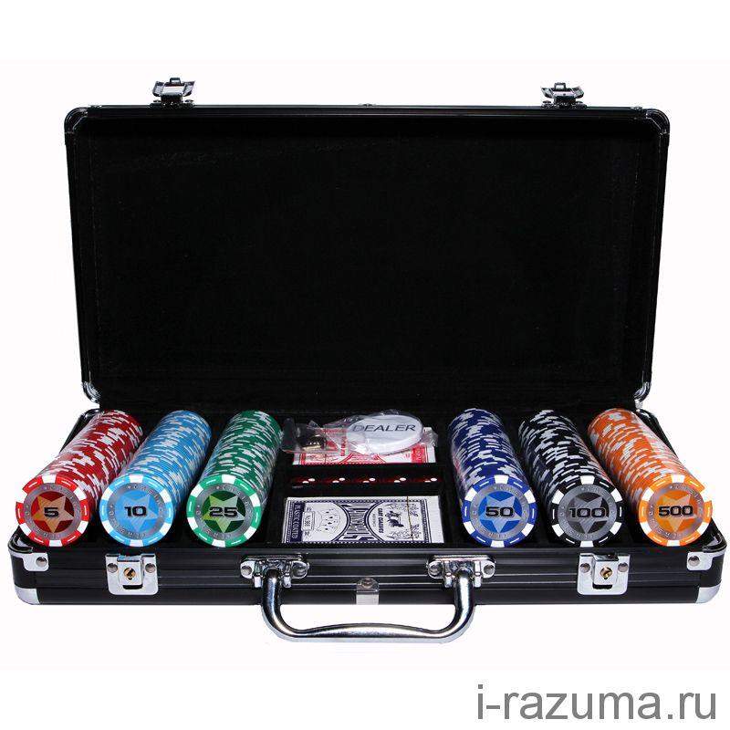 """Набор Покер """"Black Stars"""" в черном алюминиевом кейсе (300 фишек 14 г. c номиналом)"""