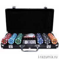 Покерный набор на 300 фишек «Black Star» (фишка 14 гр./чёрный алюминиевый кейс)