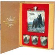 Набор: Медведь фляжка плюс 3 стопки (А03) 210мл Helios