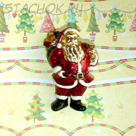 "Брошь ""Дед Мороз/Санта Клаус"" под золото, эмаль"